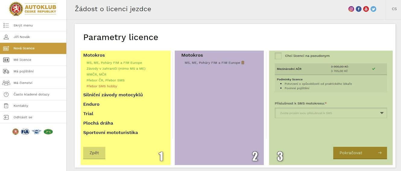 Parametry licence - rozdělení do částí