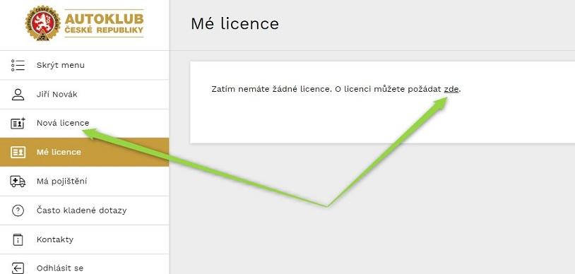 Žádost o novou licenci